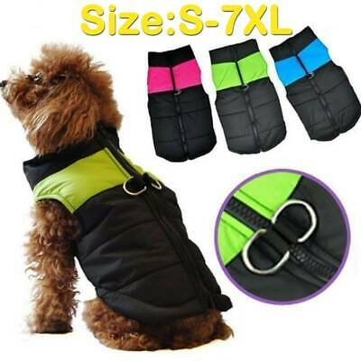 Waterproof Pet Dog Clothes Autumn Winter Padded Warm Coat Vest Jacket Apparel