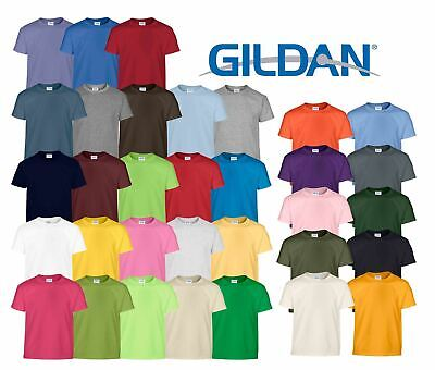 Gildan Kids Childrens Heavy Cotton Plain Taped neck T-Shirts 100% Cotton