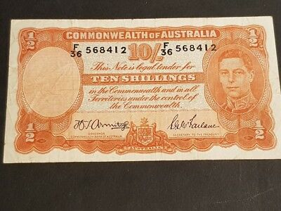 COMMONWEALTH of AUSTRALIA - TEN SHILLINGS NOTE - Signed by Armitage & McFarlane