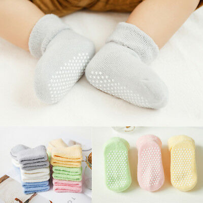 6 Pairs Anti-Slip Winter Toddler Baby Boy Girl Stretchy Thick Cotton Socks Funny