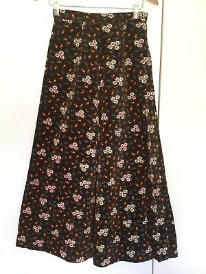 Vintage Brown Floral printed Retro Mod Cord Cotton Skirts Small