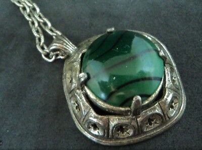 c.1970s SIGNED 'MIRACLE' Medieval GOTHIC BANDED GREEN GLASS PENDANT Silvertone