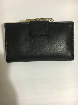 UNISEX BLACK REAL LEATHER VINTAGE PURSE NEVER BEEN USED WALLET MADE in GERMANY