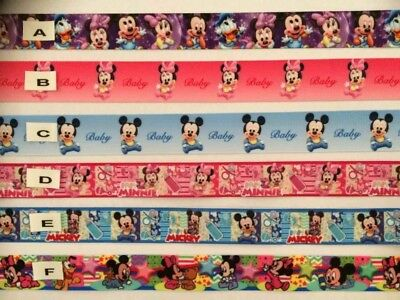 Minnie Mouse & Mickey Mouse (Babies) Ribbons Sold by 2 M - Dummy clips- Hair etc