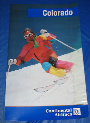 Continental Airlines Colorado Skier Skiing Poster 90s