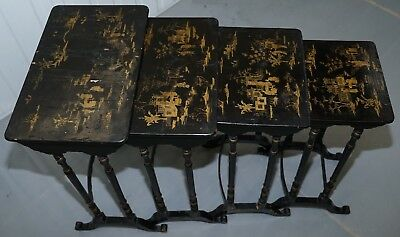 Set Of Four Georgian Circa 1800 Original Chinese Chinoiserie Nested Tables