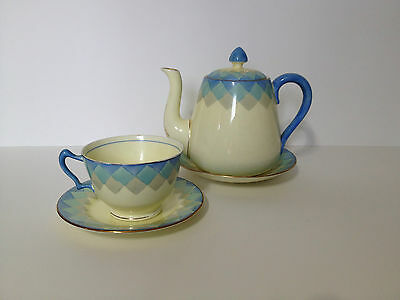 Lovely Antique Crown Staffordshire Tea Set for One, Blue and Cream
