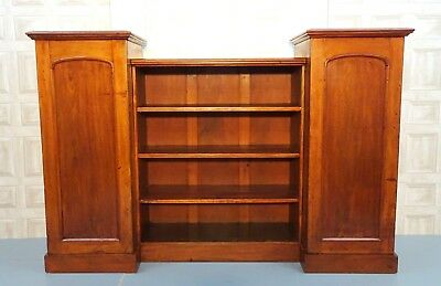 Victorian Mahogany Breakfront Open Bookcase Enclosed By Two Panelled Shelves