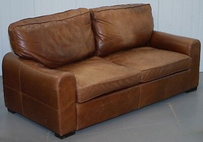 Halo Soho Age Brown Leather Sofa Rrp £2299 For Restoration, Must Go Need Space
