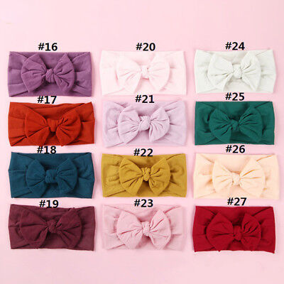 Toddler Girls Baby Kids Bowknot Headband Hairband Stretch Turban Knot Head Wraps