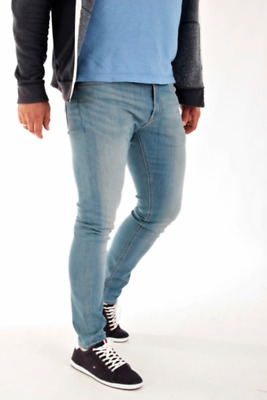 Mens Lee Malone Skinny fit Stretch Jeans RRP£80 Fresh Blue (SECONDS) L190