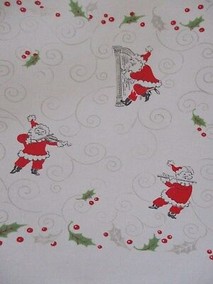 """Vintage Cotton Christmas Tablecloth Santa's playing Instruments Holly 70"""" x 58"""""""