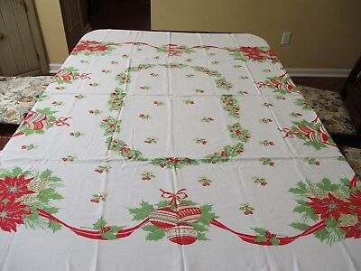 """Vintage Christmas Cotton Tablecloth 58"""" Sq. Poinsettias, Bells, Pine Cones Holly"""