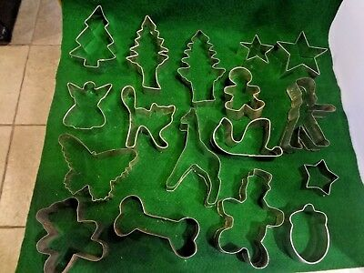 Vintage Metal Cookie Cutters - Holiday, Shapes, Animals - Lot of 17