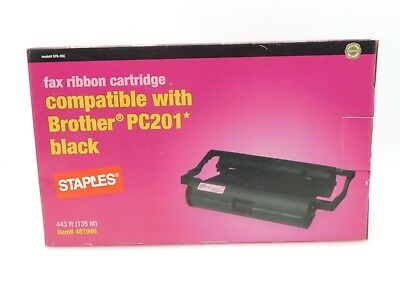 New Staples Fax Ribbon Cartridge Compatible With Brother Pc201 Black