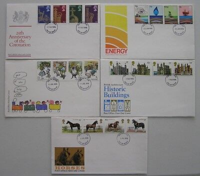 GB commemorative stamps on 5 FDC's 1978-1979