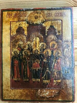 """Antique 18c Russian Orthodox Hand Painted Wood Icon """"9 Martyrs of Kizichesk"""""""