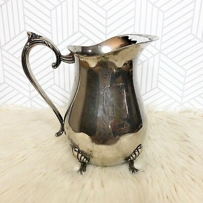 Antique Silver Plated Pitcher Star Strainer Footed Handle Water Jug Vintage