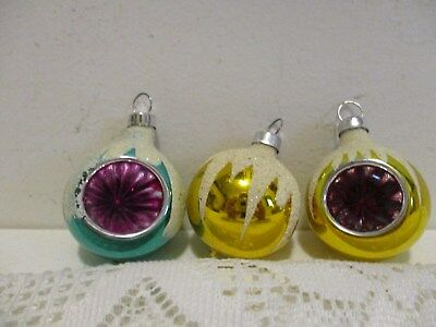 lot of 3 vintage frosted glass round miniature christmas tree ornaments indent - Miniature Christmas Tree Ornaments