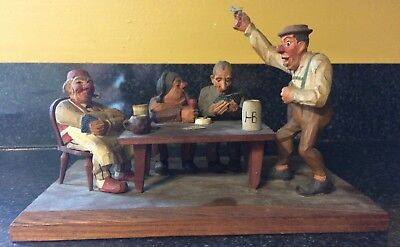 German Wooden Hand Carved Folk Art Card Players
