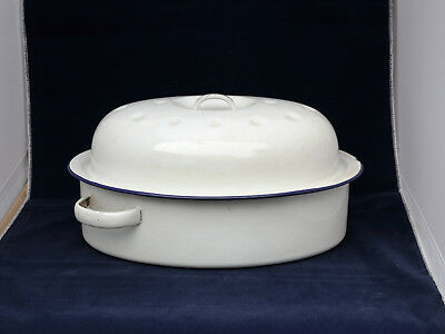 Original 1940s-50s White-and-blue enamel casserole dish. 2 small chips o/w good