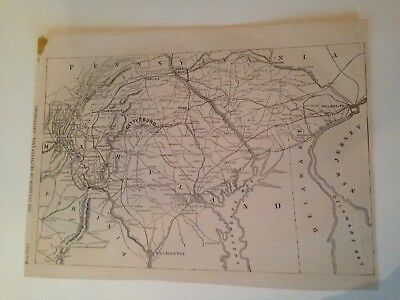 Historic Civil War Map - The Invasion of Pennsylvania - Gettysburg