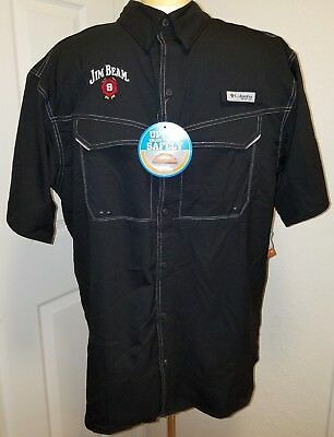 ID#1064 Medium Jim Beam Columbia Omni-Shade PFG UPF40 Black Shirt  NWT