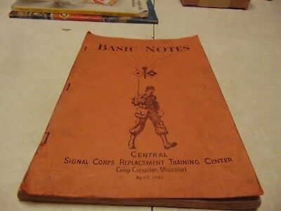 Book Basic Notes Signal Corps Replacement Training Center 1943