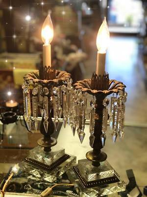 Vintage Pair of Antique Brass & Glass Parlor Lamps with Prisms Lights set of 2