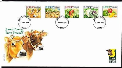 JERSEY stamps 2001 FDC Cows & Farm Produce