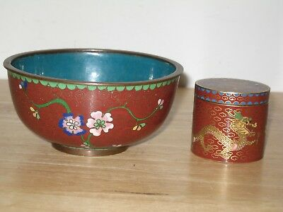 Old Chinese Vintage CLOISONNE flower bowl and min dradon box