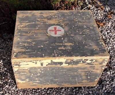 Vintage French wooden medical box, shabby, storage, military, industrial
