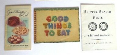 Lot of 3 Arm & Hammer Baking Soda 1935 & 1943 Good Things to Eat –1949 Hints