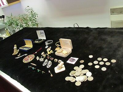 Junk Drawer Lot Collectible Coins Silver Antique Watches Speidel Must SEE J2