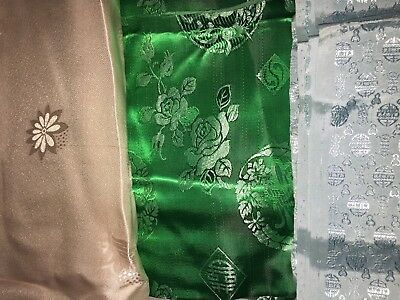 """Over 9 yards Vintage 32-34"""" Wide Chinese Lucky Medallion SILK DAMASK JACQUARD"""