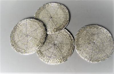 Coaster Set of 4 Silver Pewter Colour Round Beaded handcrafted Coasters cup Mats