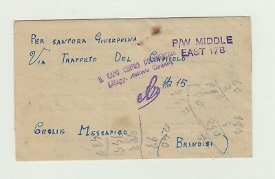 Lettera Prigionieri Di Guerra  Middle East -Giugno 1945 - Prisoner Of War