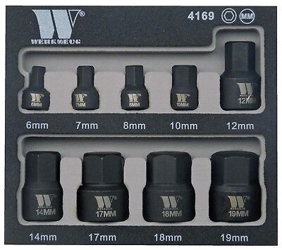 Welzh Werkzeug Low Profile Stubby Impact Hex Bit Socket Set 6-19mm 1/4 3/8
