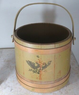 Very Nice Large Firkin Antique Vintange Primitive Wood Sugar Bucket