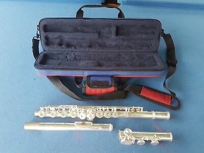 Silver nickel FLUTE with carry case and learning book.