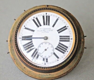 Vintage travel clock for repair or spares J C Vickery, swiss movement