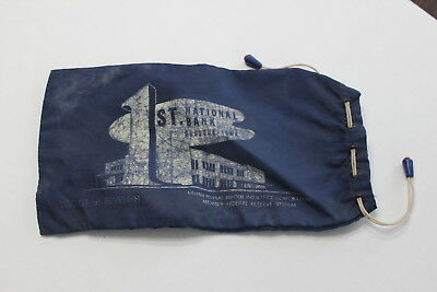 Vintage 1st First National Bank Dubuque Iowa Drawstring Bank Bag Navy Blue Old