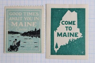 Come to Maine Good Times await canoe river lake outdoor travel poster stamp ad