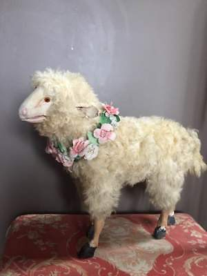 "Extremely rare 21"" x 16 moving/bleating lamb circa 1800s french for doll antique"