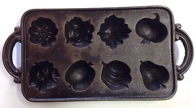 Vintage John Wright Cast Iron Fruit Vegetable Muffin Mold Cookie Pan USA