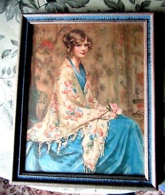 ANTIQUE PICTURE WITH BEAUTIFUL FRAME 1900's USA PRINT TITLED ALICE BLUE GOWN
