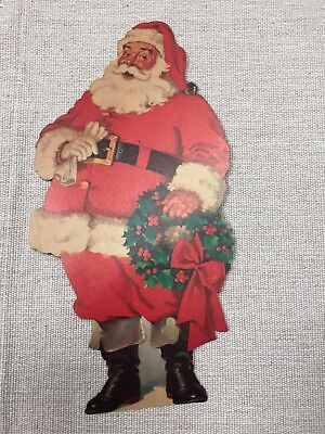 Lot Of 3 Jolly St Nick Santa Claus Vintage Cardboard Decor Dennison