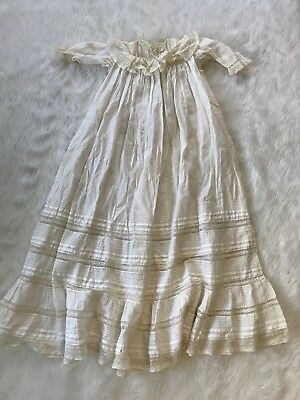 Antique Victorian Cream Baptismal Gown Embroidered Lace