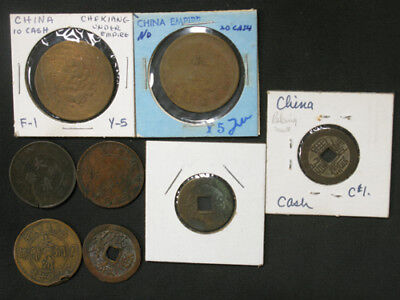 Lot of 8 Old Coins 7x China Empire 1 & 10 Cash & 1x Vietnam 10 Van