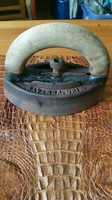 Antique A C Williams Co Ravenna OH Cast Iron Sad Iron with Removable Wood Handle